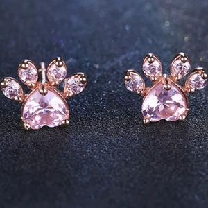 NWOT cute gold plated pink  paw